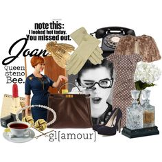 Joan: Queen Steno Bee., created by minniesoda.polyvore.com