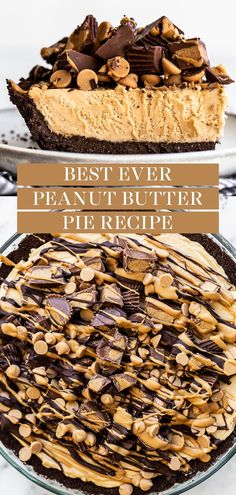 This homemade Peanut Butter Pie is made from scratch with just a few easy ingredients and will have everyone coming back for seconds! Tons of amazing chocolate and peanut butter flavor and topped with reese's. The best dessert idea to serve for a crowd! Mini Desserts, Easy Desserts, Easy Few Ingredient Desserts, Easy Delicious Desserts, Homemade Desserts, Homemade Peanut Butter, Desserts With Peanut Butter, Chocolate Peanut Butter Dessert, Peanut Butter Chocolate Pie