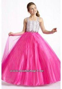 Mädchen Abendkleid Ballkleid in Pink Weiß