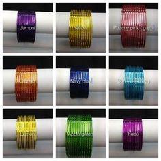 Indian Bangles 12 psc plain Good Quality Gloss Finish Glass Looking Metal Bangle | eBay