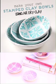 Excellent Pics Air dry Clay videos Thoughts Learn how to make your own beautiful stamped clay bowls using air dry clay. No firing or baking req Diy Fimo, Polymer Clay Crafts, Diy Clay, Diy With Clay, Diy Air Dry Clay, Air Dry Clay Crafts, Air Dry Clay Ideas For Kids, Crayola Air Dry Clay, Felt Crafts