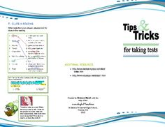 A full-color, tri-fold brochure showing real tips and tricks to taking any type of test. Great for teachers and students!...