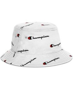 a45b80a0327 Champion Men s Logo Script Bucket Hat - White S M Champion Wear