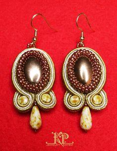 "Soutache earrings ""Autumn gold"""
