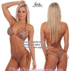 Bronze Lace Bikini with nude lining and scrunch bottom.