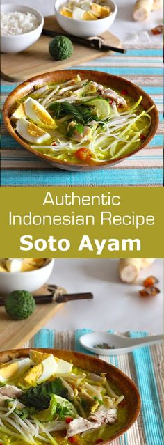 Ayam is a traditional Indonesian soup deliciously flavored, also served in Malaysia, Singapore and Suriname.Soto Ayam is a traditional Indonesian soup deliciously flavored, also served in Malaysia, Singapore and Suriname. Asian Recipes, Mexican Food Recipes, Soup Recipes, Cooking Recipes, Healthy Recipes, Ethnic Recipes, Healthy Food, Cooking Tips, Recipies