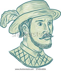 Drawing sketch style illustration of Juan Ponce de Leon, a Spanish explorer and conquistador who led first European expedition to Florida while searching for Fountain of Youth on white background.  #JuanPoncedeLeon #sketch #illustration
