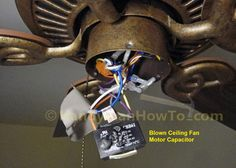 Hampton Bay Ceiling Fan Model EF200DA-52: Blown Motor Capacitor