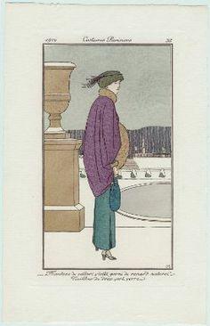 """""""Manteau de velours violet garni de renard naturel. Tailleur de drap vert verre"""", Journal des Dames et des Modes, 1912; MFA 63.2534"""