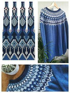 Crochet Motif Patterns, Fair Isle Knitting Patterns, Sweater Knitting Patterns, Knitting Charts, Knitting Stitches, Knitting Designs, Free Knitting, Stitch Patterns, Norwegian Knitting
