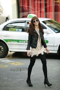 Adore the lace and leather... Love the mix of feminine and edgy