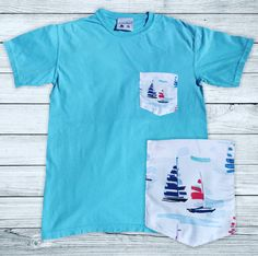 Add our new Sail Away Pocket T-Shirt to your closet! ⛵️ Get yours today at www.theyachtcollect.com