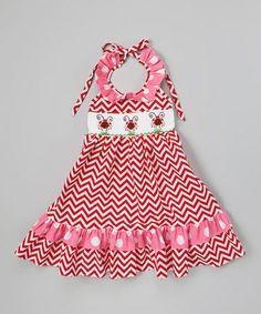 Look what I found on #zulily! Red Zigzag Ladybug Halter Dress - Infant, Toddler & Girls by Helene's Closet #zulilyfinds