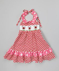Another great find on #zulily! Red Zigzag Ladybug Halter Dress - Infant, Toddler & Girls by Helene's Closet #zulilyfinds