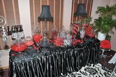 Black and red candy buffet