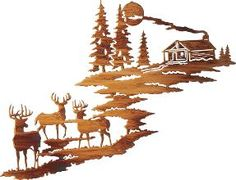 Cabela's: Cabin Scene with Deer Metal Wall Art