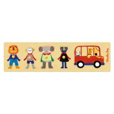 Bus Puzzle: Baby& wooden jigsaw, rectangular base with pieces to fit in using illustrations from the range in primary colours: red bus and lion, monkey, elephant and panther characters. Children's Boutique, Boutique Design, Wooden Jigsaw, Wooden Toys, Puzzles, Let The Fun Begin, Red Bus, Designer Kids Clothes, Children Images