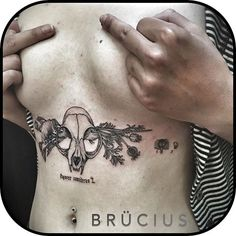 Cat Skull Tattoo, Lion Tattoo, Dog Tattoos, Animal Tattoos, Tattoo You, Sternum Tattoo, Calf Tattoo, Trendy Tattoos, Black Tattoos