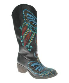 Take a look at this Black Papillon Cowboy Boot by Spring Step on #zulily today! $90 !!