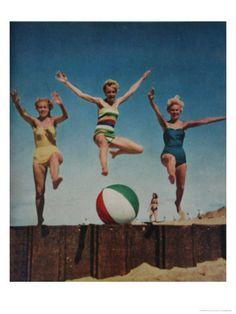Jumping Ladies Premium Poster at Art.com
