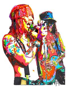 "Axl Rose, Slash, Guns N' Roses, Singer, Guitar Player, Hard Rock, POSTER from Original Dwg 18"" x 24"" Signed/Dated by Artist w/COA"