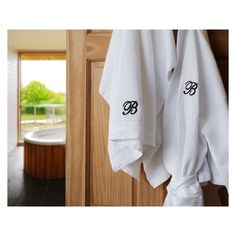 2-Piece Set: 100% Egyptian Cotton Monogrammed Waffle Spa Robe & Oversized Bath Towel
