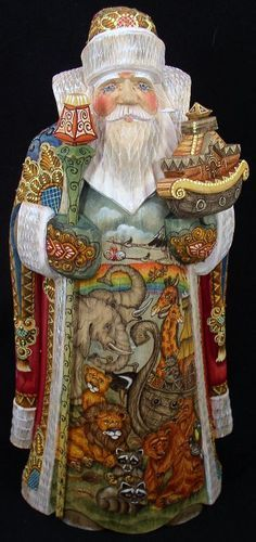 RUSSIAN WOODEN HAND CARVED/PAINTED SANTA # 0916 Noah's Ark