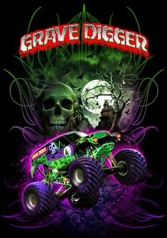 "Feld Motorsports produces the Monster Jam series and is the licensee for the "" Grave Digger "" monster truck. This shirt was designed and illustrated for a dye sublimation printed team / crew shirt. Monster Truck Jam, Monster Truck Birthday, Lego Birthday, Rc Trucks, Cool Trucks, Cool Cars, Lifted Trucks, Fun Diy Crafts, Digger"