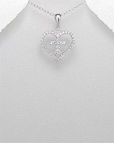 STERLING SILVER HAWAIIAN ALOHA SPARKLING HEART WITH CROSS PENDANT NECKLACE #Pendant