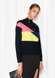 & Other Stories | Colour Block Mock Neck Sweater