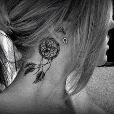 Dreamcatcher neck tattoo