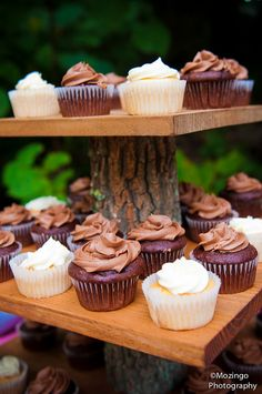 Cupcake Stand Rustic Wedding Decor Log Slice