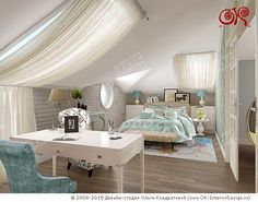 Дизайн спальни с кабинетной зоне на мансарде - http://www.ok-interiordesign.ru/dizayn-mansardy-doma.php