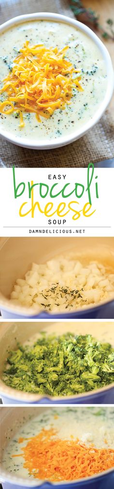 Broccoli Cheese Soup - Warm, cheesy, rich broccoli cheese soup made in less than 30 minutes. Comfort food never tasted so good!