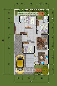 Bentuk Desain Rumah Hook Tipe 70 - Jasa Desain Rumah 3d House Plans, Model House Plan, House Layout Plans, House Blueprints, Dream House Plans, Small House Plans, House Layouts, Home Layout Design, Home Map Design