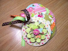 Pink and Green Mini Flower Chipboard Coaster by HampshireRose, $20.00