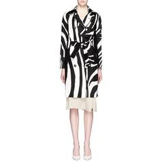 Diane Von Furstenberg 'Libby' zebra print wool-silk trench coat (2.225 RON) ❤ liked on Polyvore featuring outerwear, coats, zebra print coat, wool coat, zebra print trench coat, fitted trench coat and sash belt