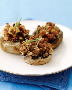 Hazelnut and Turkey-Sausage Stuffed Mushrooms Recipe