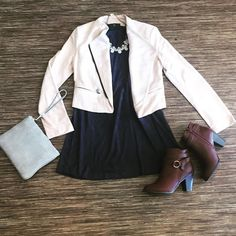 Work day chic! #shopbluetique #shop #shoponline #shoppingonline #workday #chic #booties #dresses #ootd