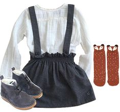 Back to School look! Blouse, skirt & suede boots by Tocoto Vintage. Fox knee socks by Mini Dressing.