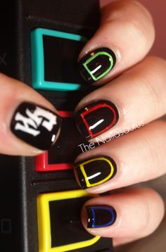 green,red,yellow,blue and black nails!