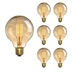 KINGSO Vintage Edison Bulb Incandescent Antique Dimmable Light Bulb Dimmable for Home Light Fixtures Squirrel Cage Filament Base 6 Pack ** You can get more details by clicking on the image-affiliate link.
