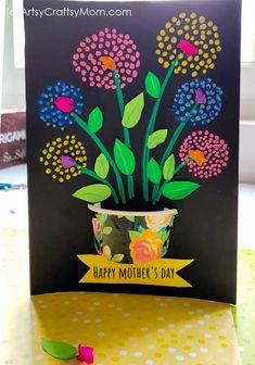 Q-tip Flower Art Mother's Day Card Flower Crafts Kids, Spring Crafts For Kids, Mothers Day Crafts For Kids, Diy Mothers Day Gifts, Mothers Day Cards, Diy Gifts, Arts And Crafts, Paper Crafts, Paper Art