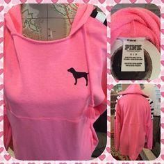 Pink Victoria's Secret Pink Hooded Sweatshirt Pink Victoria's Secret bright pink hooded sweatshirt.  Rounded shirt tail hem.  Size small.  Black dog on left front.  The letters PINK are on each shoulder.  Worn once.  No trades.  Use offer option. PINK Victoria's Secret Tops Sweatshirts & Hoodies