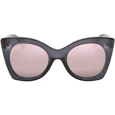 Le Specs Savanna Retro Frame Sunglasses (€61) ❤ liked on Polyvore featuring accessories, eyewear, sunglasses, charcoal, retro eyewear, retro mirror sunglasses, mirror lens sunglasses, retro sunglasses and le specs sunglasses