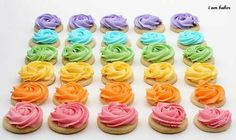 Rainbow rose cookies from i am baker