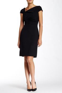 Image of Tahari Fold-over Neck Sheath Dress