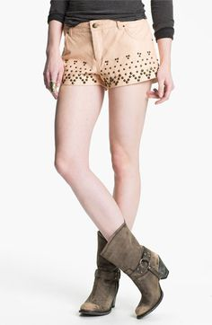 Free People Studded Faux Leather Shorts available at #Nordstrom