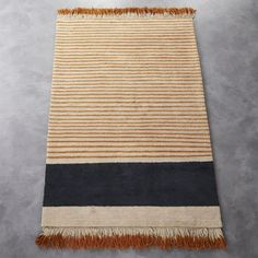 """Rugs – Home Decor :     <span class=""""copyHeader"""">fringe fest.</span> Desert inspiration stripes a daring combination of in-your-face-fringe and laid back stripes, designed exclusively for CB2 Aelfie Oudghiri. Hand-knotted of 100% wool, low-pile design is a juxtaposition of... - #Rugs"""