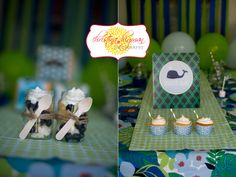 Navy Blue light blue green preppy Whale Birthday party decorations - supplies party ideas , cupcake toppers and banners!